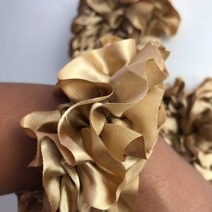 Gold Scrunchie Set of 3 New Ruffles
